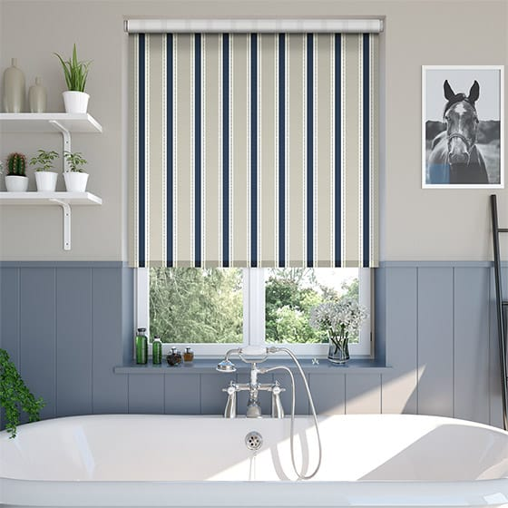 Ribbon Stripe Country Blue Roller Blind