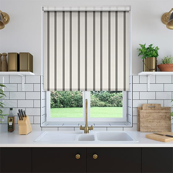 Ribbon Stripe Grey Roller Blind