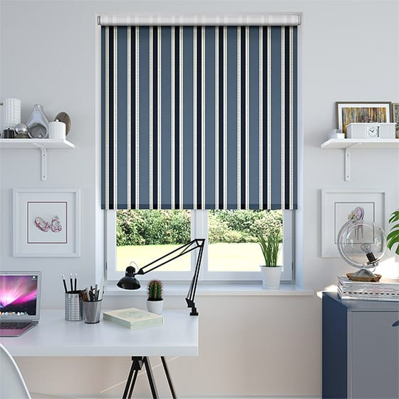 Ribbon Stripe Indigo Roller Blind