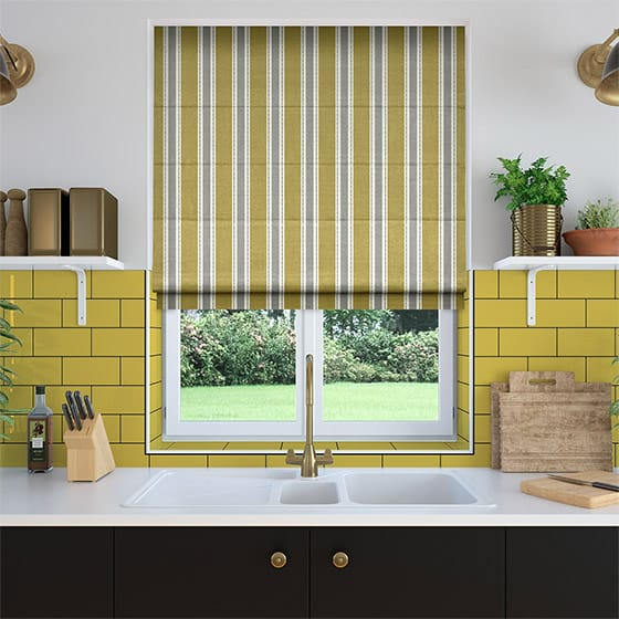 Ribbon Stripe Lemon Roman Blind
