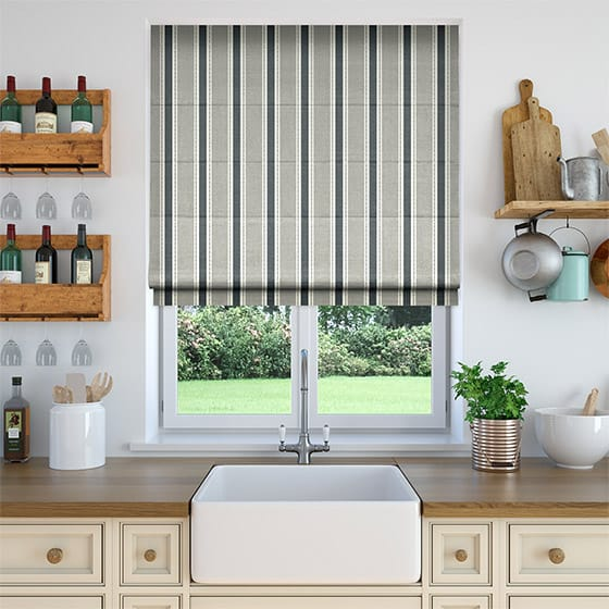 Ribbon Stripe Neutral Roman Blind