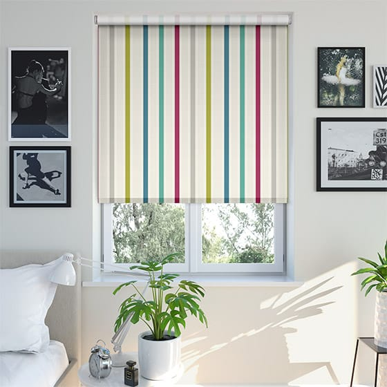 Ribbon Stripe Rainbow Roller Blind