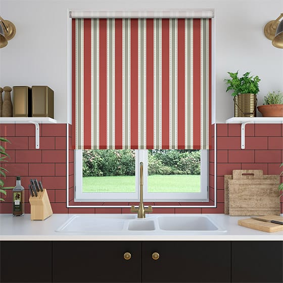 Ribbon Stripe Rouge Roller Blind