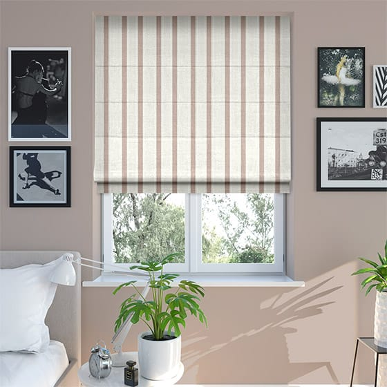 Ribbon Stripe Soft Pink Roman Blind
