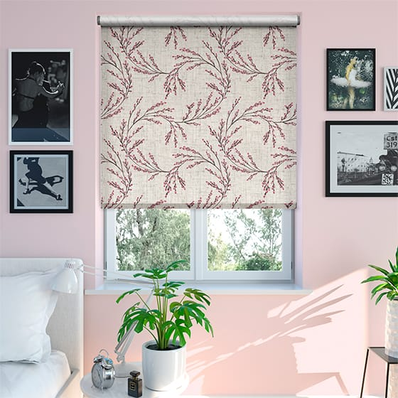 Select Budding Twigs Linen Rustic Fuchsia Roller Blind