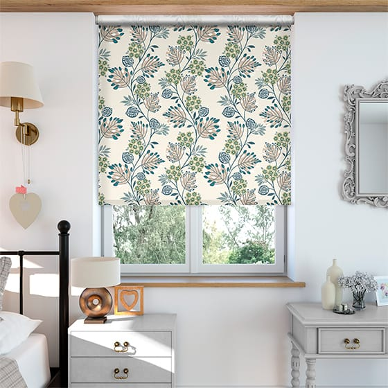 Select Retro Stems Linen Cyan Roller Blind