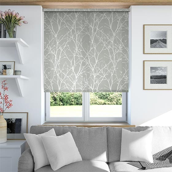 Spring Twigs Grey Roller Blind