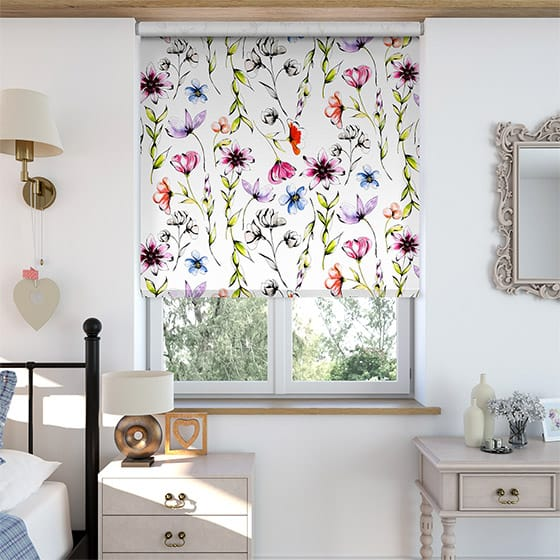 Summer Meadow Rose Roller Blind