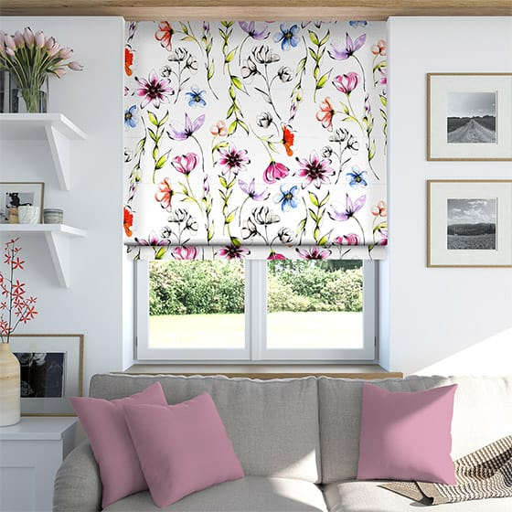 Summer Meadow Rose Roman Blind