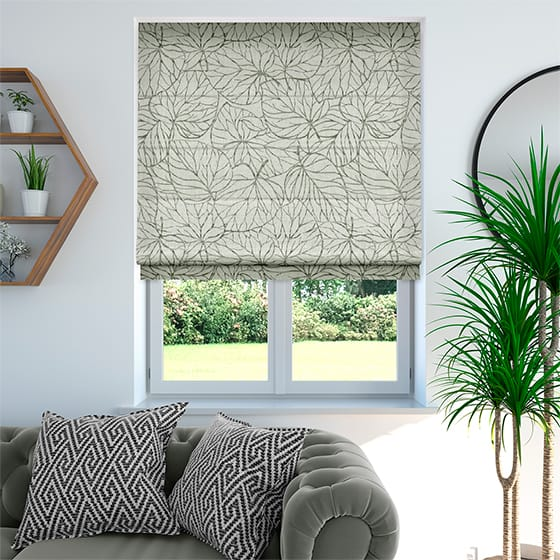 Tangled Leaves Linen Grey Roman Blind
