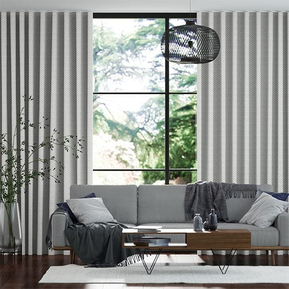Wave Ecliptic Cool Silver Curtains