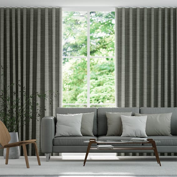 Wave Faux Silk Luxe Dark Silver Curtains