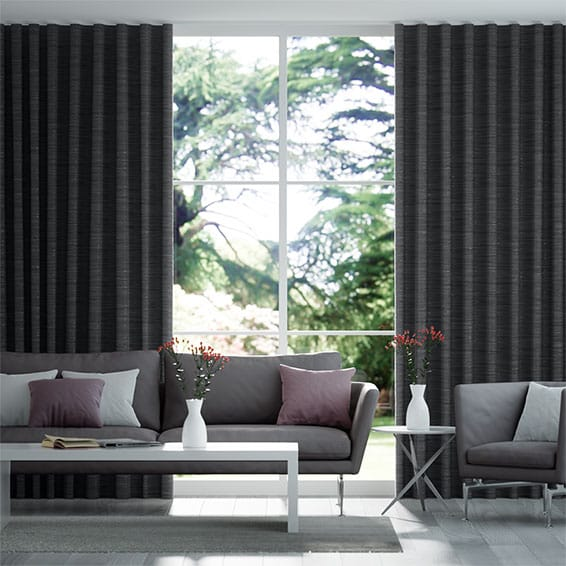 Wave Faux Silk Luxe Darkest Grey Curtains