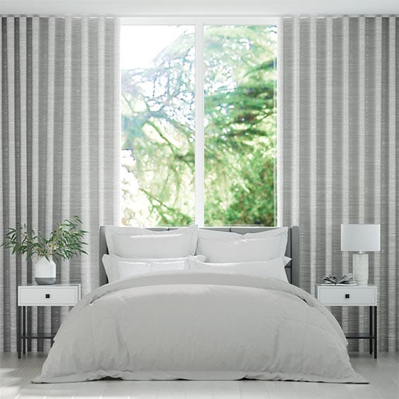 Wave Faux Silk Luxe Silver Curtains