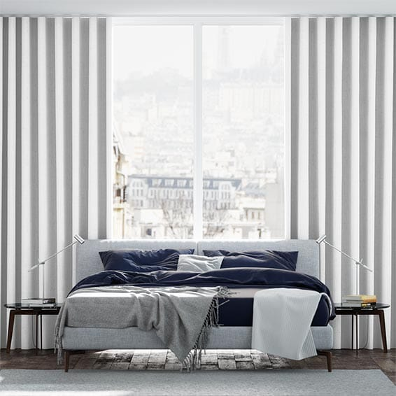 Wave Linen Weave White Curtains