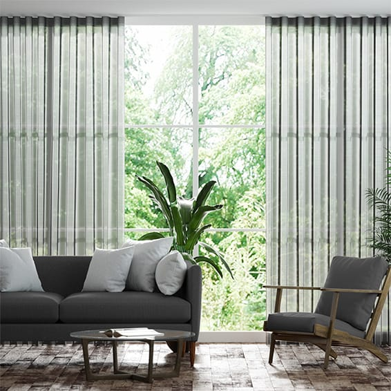 Wave Pinstripe Voile Steel Curtains